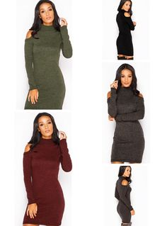 Off Shoulder Knitted Cotton Long-Sleeve Bodycon Mini Dress