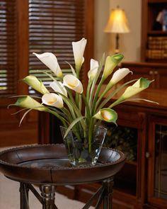 Calla Lily & Foliage Silk Centerpiece - White/Green