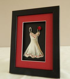One Day Sale Pewter Sculpture Hand Embossed Dress Red Framed £9.00