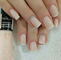 50 Awesome French Tip Nails to Bring Another Dimension to Your Manicure French tip nails are classic designs that have stood the test of time. The core idea of the French manicure is painting the tip of the nail in a color . French Tip Manicure, Gel Nails French, Manicure And Pedicure, Cute Nails, Pretty Nails, My Nails, French Nail Designs, Wedding Nails Design, Perfect Nails