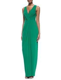 HALSTON HERITAGE Twist Front Sleeveless Gown