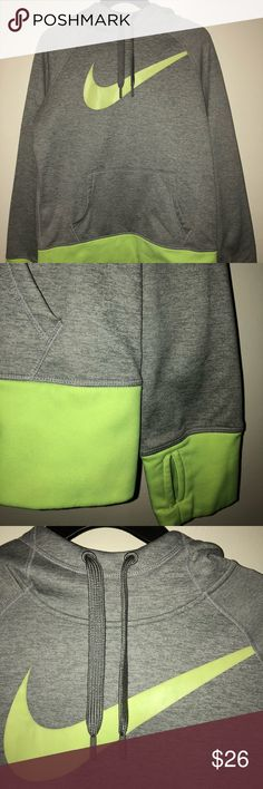 Therma-Fit Nike hoodie Gray base; highlighter yellow lining. Worn a few times but still in good condition. Nike Tops Sweatshirts & Hoodies