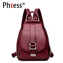 956f1e9780fe 2019 Women Leather Backpacks Vintage Female Shoulder Bag Sac a Dos Travel  Ladies Bagpack Mochilas School
