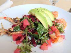 Organic Baby Kale & Shrimp Salad w/ Creamy Avocado, Sweet Red Beets and Grilled Jumbo Shrimp, Garnished w/ Black Lava Salt