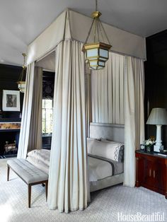 Master Bedroom in Chicago townhouse designed by Steven Gambrel