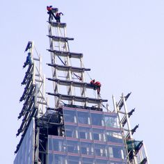Workers constructing the very top of the Shard, London Bridge. A good head for heights required.