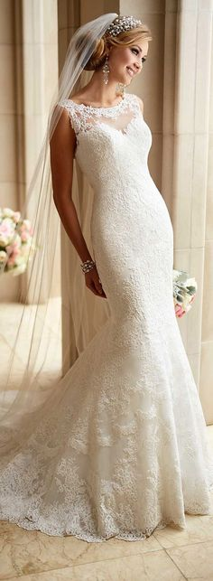 Stella York Spring 2016 Wedding Dress www.finditforweddings.com  White lace wedding dress