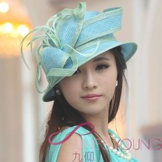 Sun Hat Dress Church Kentucky Derby Hat Straw Hat Cloche Sinamay Flower Ribbons #Junesyoung #CM0009