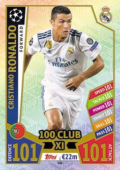 Match Attax UEFA Champions League 2016//17 Cristiano Ronaldo 100 club 10 P Fresh