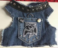 Dog Harness Vest, Led Zeppelin, Denim Vest for Dogs and Their Owners who Love Led Zeppelin Small Dog Clothes, Puppy Clothes, Pet Fashion, Animal Fashion, Led Zeppelin, Jeans Azul, Jean Jacket Vest, Dog Clothes Patterns, Dog Dresses