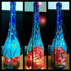 Wine Bottle Light, Hand Painted, Night Light, Glitz   #winebottle #walkofhappiness #bottlepainting #starynight