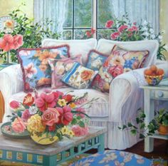 """""""Home to The Heart"""" is a painting I did with barkcloth pillows in it."""