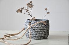 Купить Бетонный горшок Вязанка с веревочными ручками в стиле Прованс - кашпо для цветов, лофт, для суккулентов