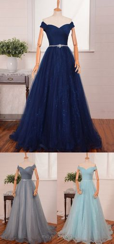 Elegant Long Prom Dresses,A-line Off-the-shoulder Women Evening Gowns, Tulle Sequined Formal Dress,Sweep Train Beading Party Dresses