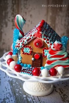 Red White and Blue Gingerbread House from @Heather // Whipperberry