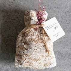 Rustic Chic Burlap and Lace Drawstring Favor Bag - Marry Me Wedding Accessories & Gifts