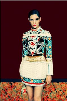 Love the folk-art like prints in Mary Katrantzou's Fall 2011 collection.  Photo by Erik Madigan.