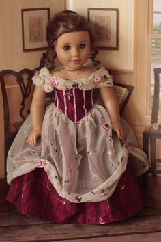 Marie graces sweet hearts ball gown for 18in American girl dolls, bobbyjosue via Etsy