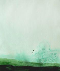 LOVE this. Mal Autumn etsy shop. Watercolor landscape w/ small birds