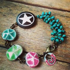 By Lorelei Eutro - Beaded chain Ceramic star tabs- Keith O'Connor star focal Tin charm Brass wire Brass lobster clasp