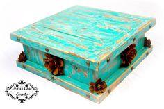 Rustic Wedding Cake Stand Turquoise