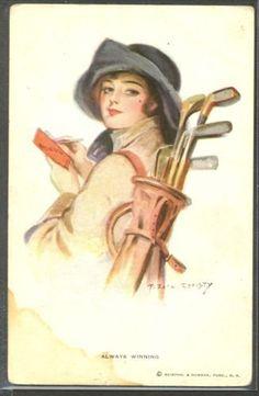 MY187-a-s-EARL-CHRISTY-ALWAYS-WINNING-Portrait-de-FEMME-CHAPEAU-GOLF-LADY