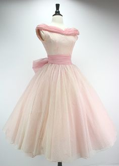50s Dress Vintage Party Prom Pink Eyelet Lace by swingkatsvintage {Repin}