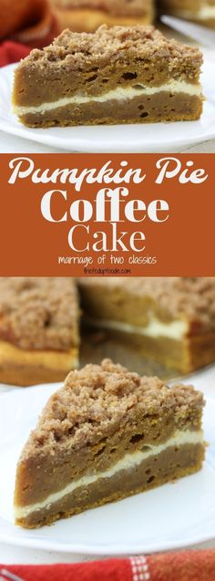 Moist and rich with the best buttery crumble topping, this Pumpkin Pie Coffee Cake recipe is a cross between two classics. Add in the cream cheese layer and this becomes a favorite fall dessert! https://www.thefedupfoodie.com