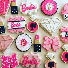 Barbie Cookies - Hayley Cakes and Cookies - - Set includes 12 large cookies. 2 Birthday, Barbie Birthday Cake, 6th Birthday Parties, Birthday Ideas, Birthday Banners, Frozen Birthday, Birthday Cakes, Birthday Invitations, Barbie Party Decorations