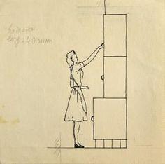 Belgian designers: Cubex kitchen by Louis-Herman De Koninck 1940s Home, Kitchen Design, Kitchen Ideas, Architecture, Crib, Modern, Designers, House, Belgium