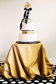 Black & Gold NYE Wedding: gold dusted wedding cake by Anna Elizabeth Cakes.