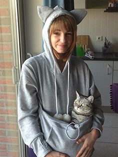 Amazoncom Customer Reviews SAIANKE Womens Hoodies Pet Holder - Hoodie with kangaroo pouch is the perfect cat accessory