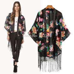 Kimono Jaqueta casaco longo das mulheres  nova solto Floral impresso Chiffon Cardigan com Tassel para senhoras Outwear Jaqueta Feminina alishoppbrasil