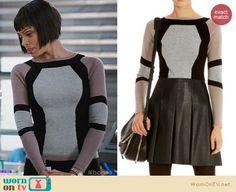 Camille's colorblock sweater on Bones.  Outfit Details: https://wornontv.net/26302/ #Bones