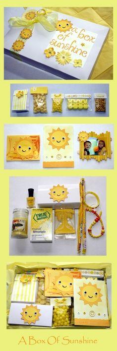 DIY: create a custom box of sunshine box Birthday Box, Birthday Gifts, Craft Gifts, Diy Gifts, Box Of Sunshine, Creative Gifts, Homemade Gifts, Little Gifts, Gift Baskets