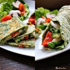 Spinach-Quesadillas - green from the outside and the inside