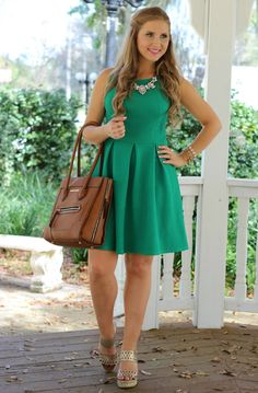 Ashley Brooke | Kelly Green & Gold Easter Outfit | Anastasia Necklace