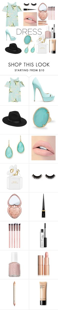 """#dreamydress"" by aniavanesyan ❤ liked on Polyvore featuring MANGO, Casadei, Lack of Color, Anne Sisteron, Ippolita, Jouer, Marc Jacobs, Too Faced Cosmetics, Christian Louboutin and MAC Cosmetics"