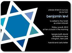 Boldly Shining - Bar, Bat Mitzvah Invitations in Black   Robyn Miller