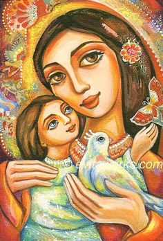 mother and child Folk Art Icon Religious Mother and Child Motherhood Dove Bird Love Maternity Wall Art, home decor wall decor woman art, ACEO wood block, CG Religious Art, Religious Icons, Madonna And Child, Art Icon, Arte Popular, Affordable Art, Mother And Child, Female Art, Art Images