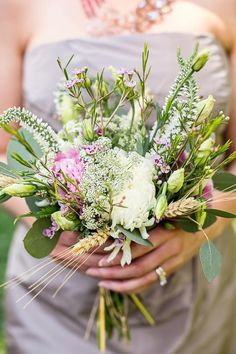 green pink and cream wildflower bouquet