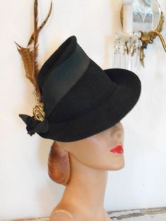 0aa67f4f302 Awesome Black Felt High Crown Tilt Hat with Feathers