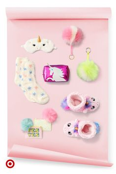 Make it a magical holiday with gifts like unicorn socks, sparkly pouches & furry key chains.