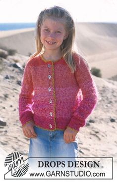 "Lindsay Smiles – DROPS jacket with raglan in ""Muskat"" and ""Vivaldi"" – Free pattern by DROPS Design - Knitting For Charity, Easy Knitting, Knitting For Kids, Knitting Projects, Baby Knitting Patterns, Crochet Patterns, Drops Design, Cardigan Pattern, Baby Cardigan"