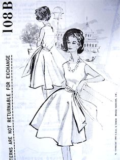 1960s BEAUTIFUL Herbert Sondheim Party Evening Cocktail Dress Pattern SPADEA DESIGNER 108B Half Circle Swirling Skirt With Sash, Fitted Bodice Bust 36 Vintage Sewing Pattern