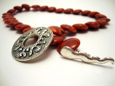 Coral Flat Bead Necklace with Decorative Pewter Clasp by ABeadifulDay
