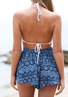 Back view of model in tie-string crochet bralette top