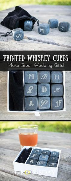 Wedding Gifts Buy these Black Soapstone Whiskey Stones as the perfect groomsmen gift or gift for men who are whiskey lovers. natural soapstone in elegant charcoal grey for this stylish whiskey stone gift set. Best Groomsmen Gifts, Groom And Groomsmen, Groomsman Gifts, Diy Wedding Favors, Gifts For Wedding Party, Wedding Tips, Party Gifts, Wedding Themes, Wedding Decoration