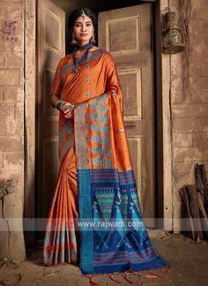 Raw Silk Weaving Work Saree... Dupion Silk Saree, Art Silk Sarees, Handloom Saree, Orange Saree, Orange Blouse, Sari Fabric, Fabric Art, Work Sarees, Looks Chic