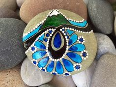 Mountain stream / I'd rather be climbing / painted rocks/ painted stones / Sandi Pike Foundas / Cape Cod